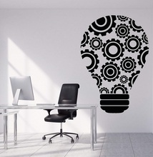 Vinyl wall decal bulb idea teamwork gear office decoration sticker quote workstation inspirational wallpaper 2BG23