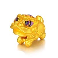 Pure 24K Yellow Gold Bracelet Women 3D Lion Colourful Bracelet