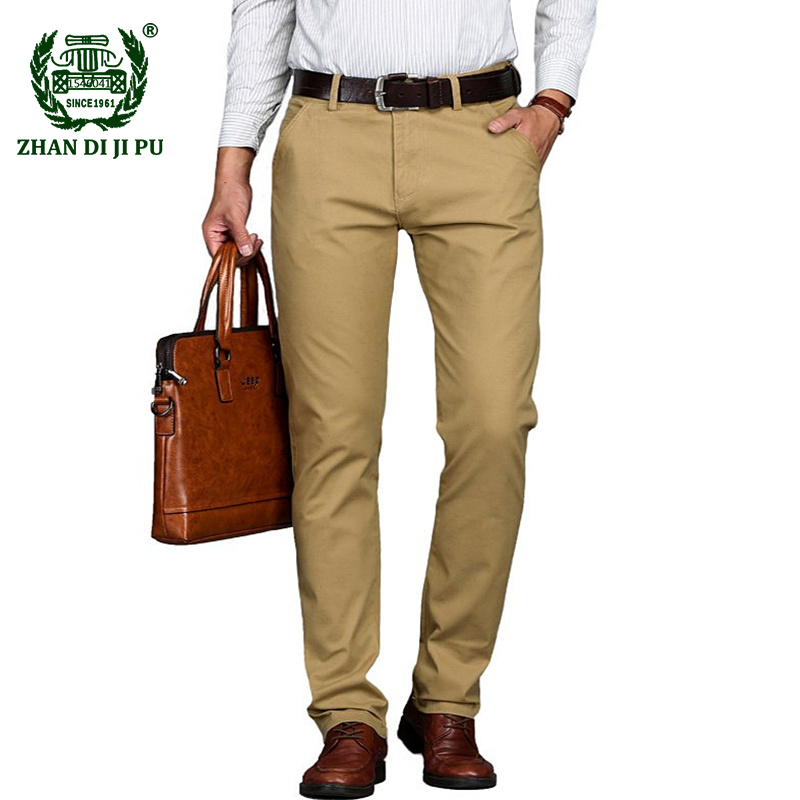 Plus Size 29-46 Summer 2018 Business mens casual brand khaki straight pant autumn man cotton pants afs jeep black long trousers