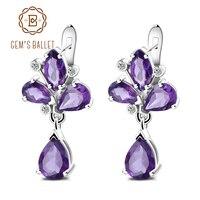 Gem S Ballet 2 46Ct Natural Purple Amethyst Drop Earring 925 Sterling Silver Flower Earrings Fine