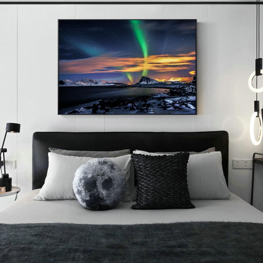Northern Lights Over Mountains Wall Art Canvas Prints Modern Northern Lights Vareid Flakstad Nordland Norway Canvas Art Painting Leather Bag