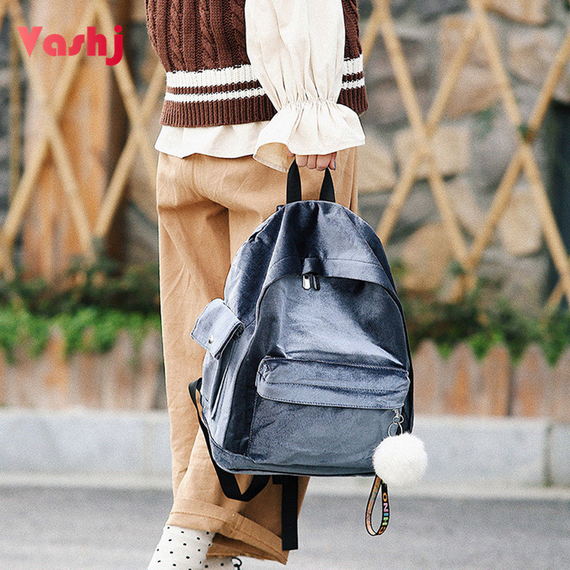 Korean Style Woman Backbag Book School Bags For Teenager Girls Zipper Traveling Bag Vintage Velvet Mochila Female Backpacks Sac