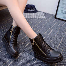 Autumn Winter Women Ankle Boots Double Zipper Lace Up Heel Increasing Short Boots Thick Warm Ladies Shoes Waterproof Platform