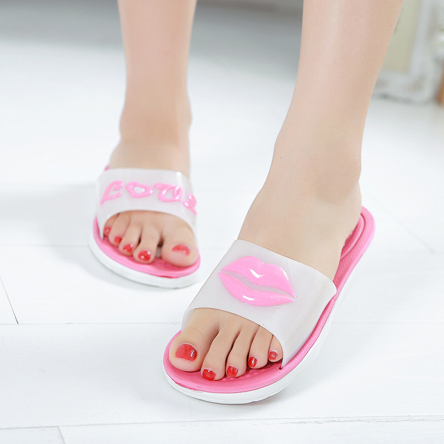 fafb68e69cc The new red lip bathroom slippers in summer women take a shower is leaking  antiskid interiors