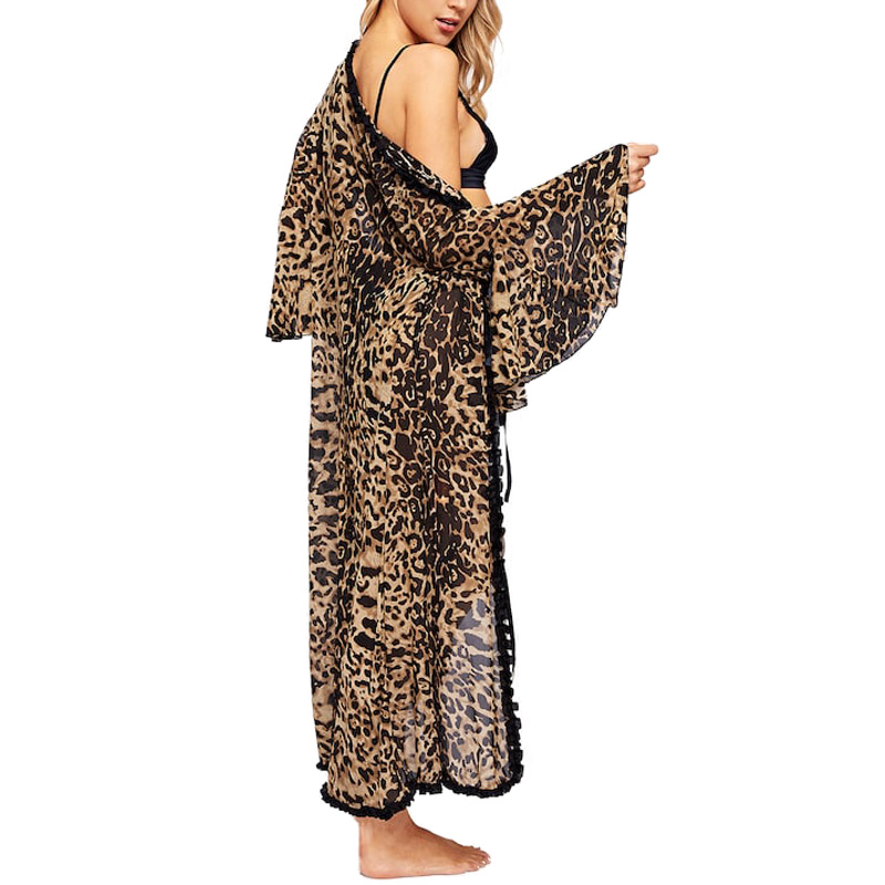Image 4 - Women Sexy Bathrobe Leopard Kimono Winter Autumn Casual Sleepwear Mesh Nightwear Elegant Bathroom Spa RobeRobes   -