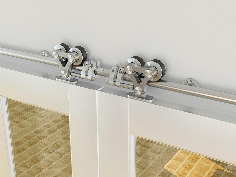 DIYHD 8FT-16FT acier inoxydable top monté creux cut double coulissante grange porte en bois matériel grange porte coulissante piste