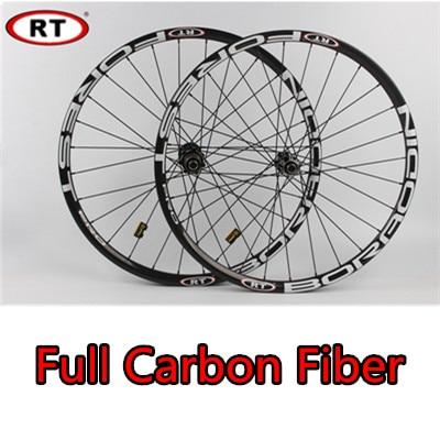 RT MTB Mountain Bike Full Carbon Fiber Race DH/AM Thru-axis WheelS Sealed Bearing CNC Hub Rim 24 freeshipping mtb 27 5 650b carbon wheels disc brake 27 5er mountain bicycle am dh carbon tubeles rim 35mm width 25mm depth