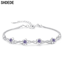 SHDEDE Flower Charms Bracelets For Women Cubic Zirconia Ladies Korean Trendy Jewelry Accessories +WHBG49 shdede white 7