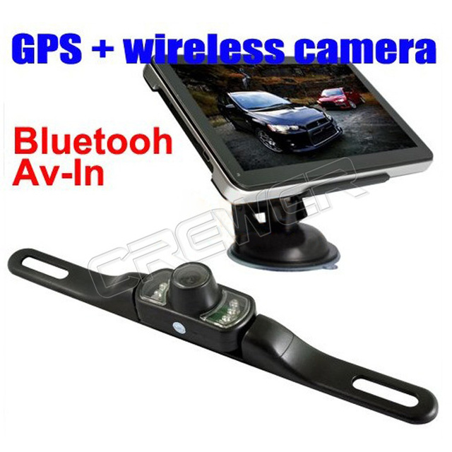 New 7 inch Bluetooth,AV-IN car gps navigation with wireless rearview camera Free Ship