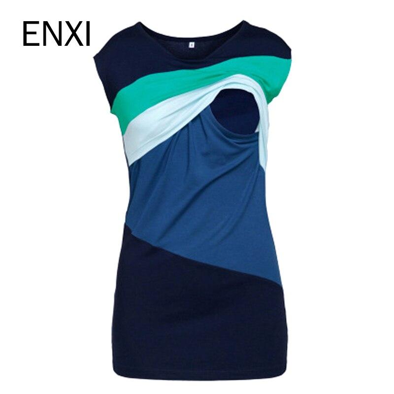 ENXI Sommer Mutterschaft Pflege Kleidung Gestreiften Ärmellose Dünne Stillen T-shirt Für Schwangere Frauen Mutter Fütterung Top 3XL