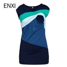 ENXI Summer Maternity Nursing Clothes Striped Sleeveless Thin Breastfeeding T-shirt For Pregnant Women Mother Feeding Top 3XL