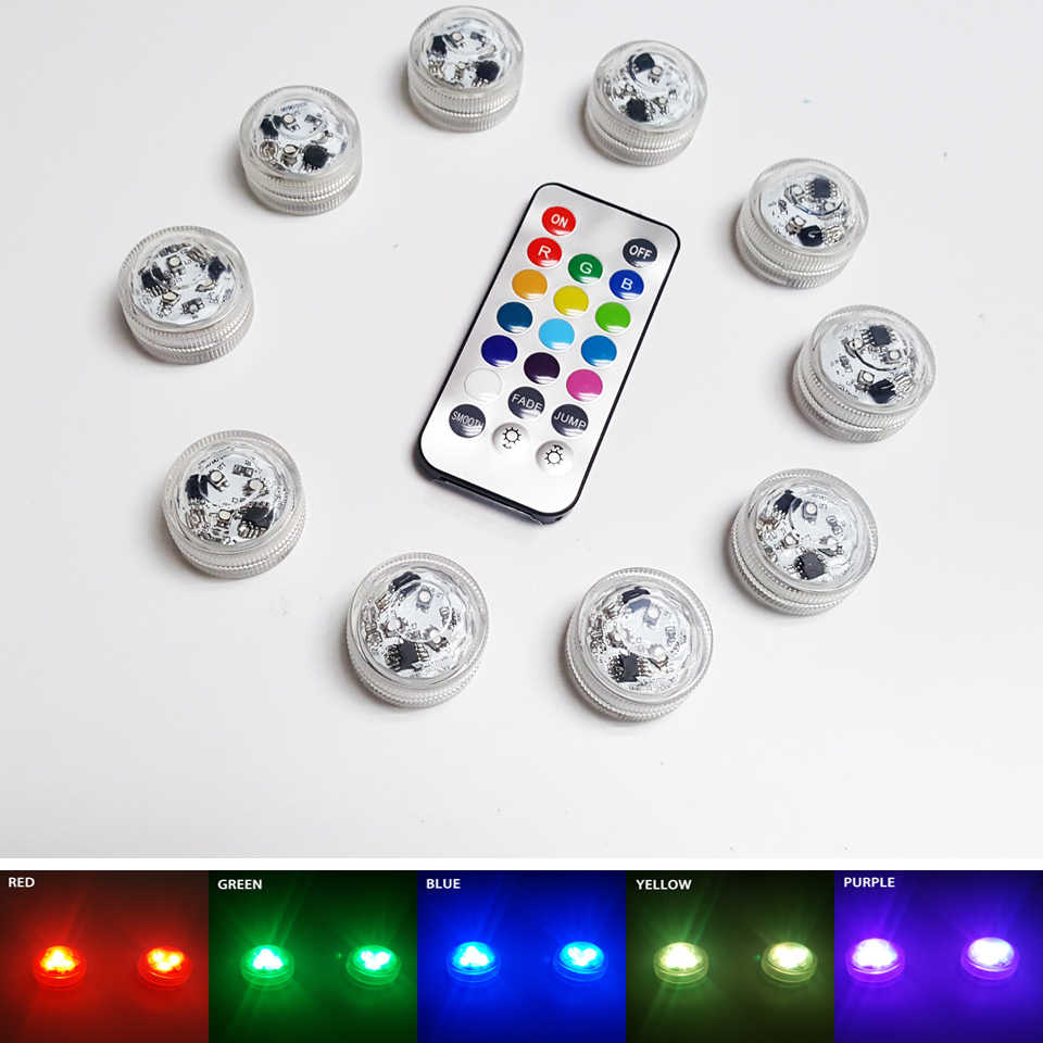 3 Led Remote Controlled RGB Submersible Light Battery Operated Underwater Night Lamp Vase Bowl Outdoor Garden Party Decoration