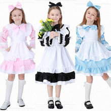 Children Alice in Wonderland Costume Deluxe Girls Fairytale Book Week Maid Wench Fantasia Fancy Dress