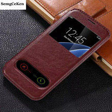 SemgCeKen luxury original case for samsung galaxy s6 edge s6edge g9250 pu leather view flip window retro cell phone cover coque
