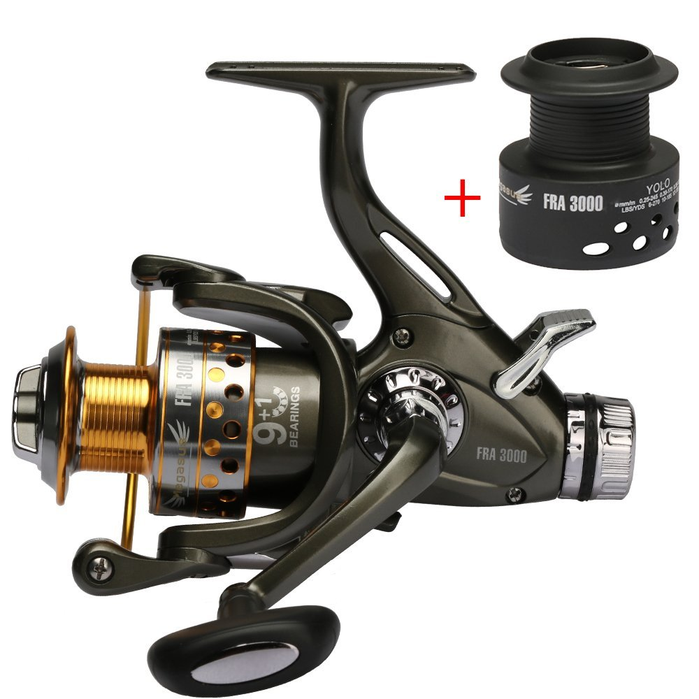 ФОТО Goture Dual Brake Feeder Spinning Reel Plus Extra Spool Fishing Reel Bait Runner 10BB Double Drag FRA Series