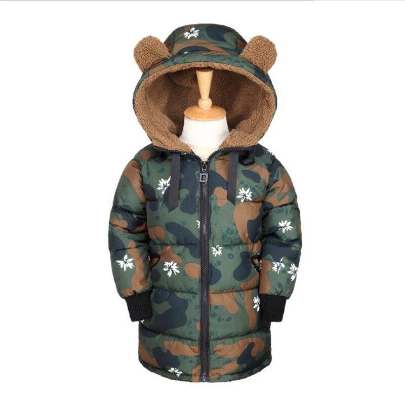 2018 зима новый стиль утолщенной девушки Теплая куртка-пуховик мальчика камуфляж cap куртка с коттоновой подкладкой