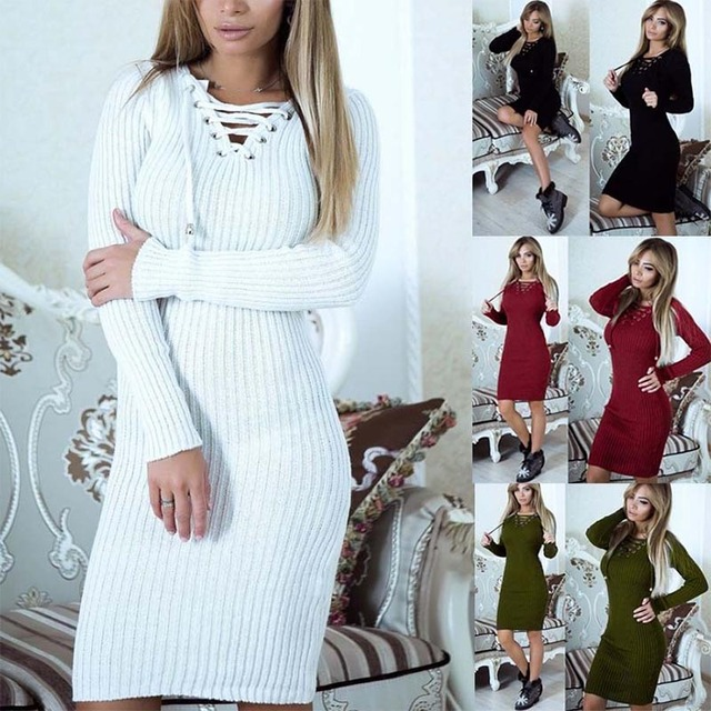 Sweater Dresses Women Winter 2017 Pullover Bandage V-neck Shoelace Sexy  Bodycon Slim Red Black Long Sleeve Knitted Sweater Dress f7d57b933d47