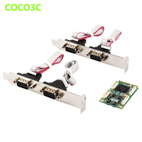 Mini PCIe To 4 RS422 RS485 Ports adapter for Mini ITX motherboard Mini PCI express DB9 Ports Controller Card