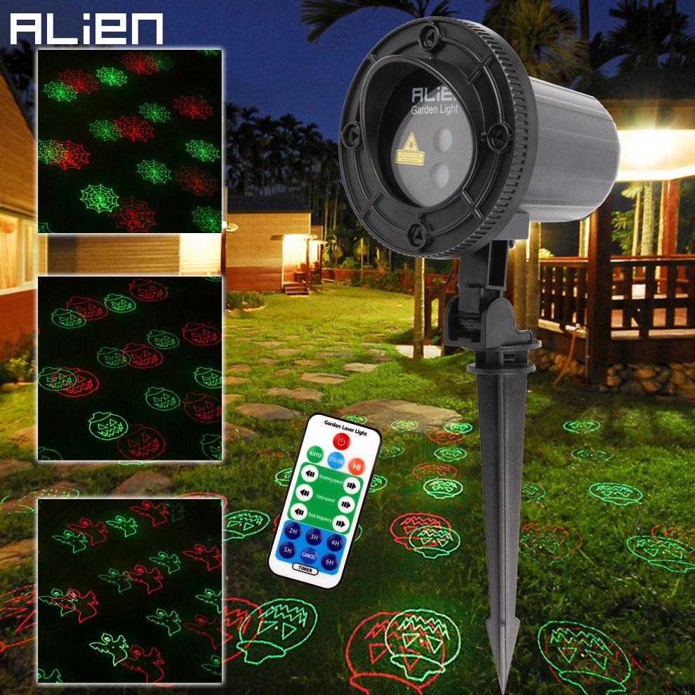 ALIEN Red Green Halloween Laser Light Outdoor Garden Waterproof Holiday Decoration Pumpkin Spider Show Lighting With RF Remote цена 2017