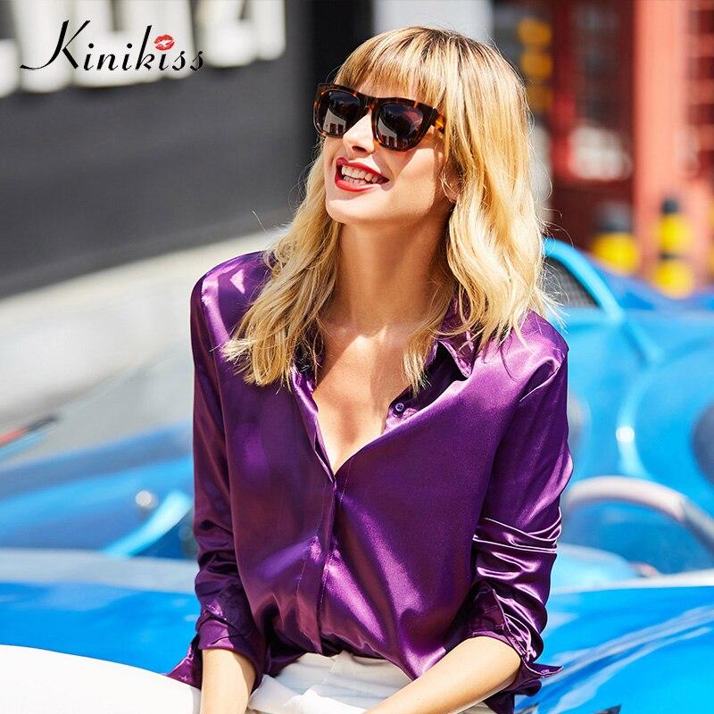 Kinikiss Women Satin Purple Blouses Shirts Tops Fashion Model Color Cool Ladies Blouse Office Long Sleeve Turn-down Collar Shirt