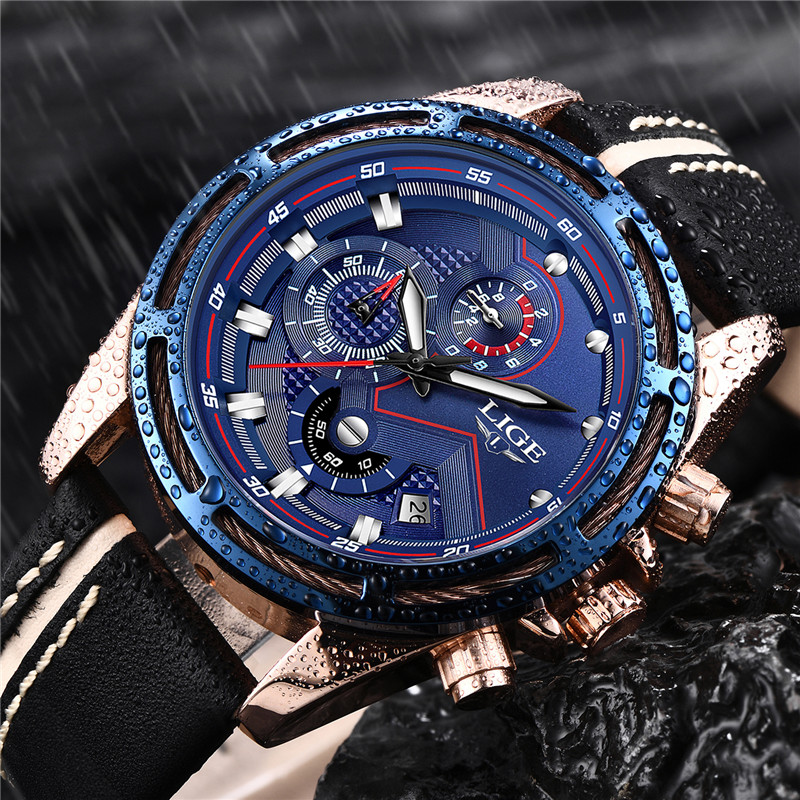 LIGE Chronograph Fashion Blue Big Dial Watch Sport Waterproof Dress Clock Mens Watches Top Brand Luxury Leather Quartz Watch Men