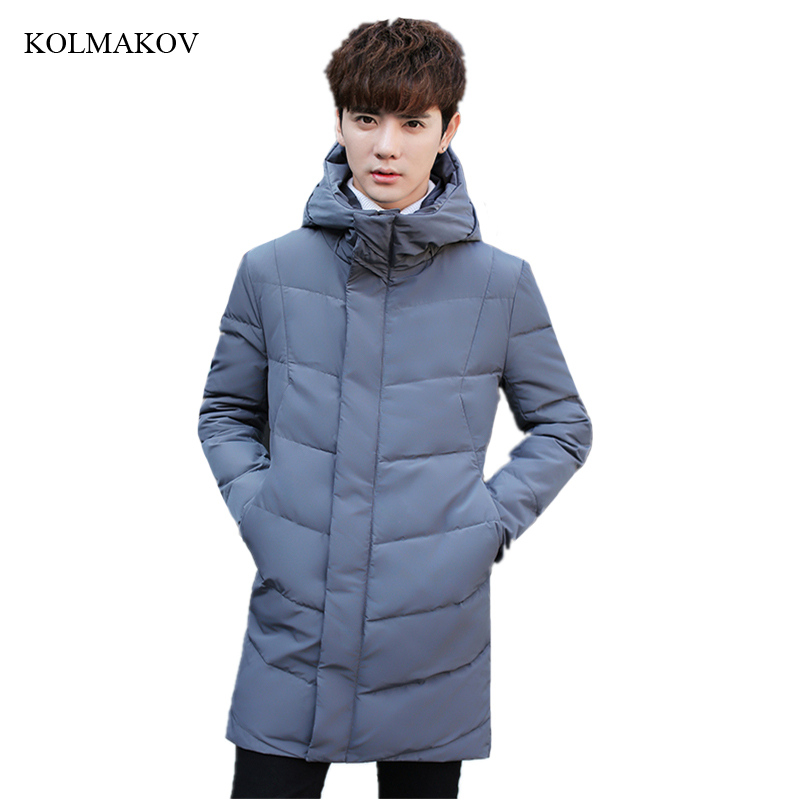 New Winter Style Men Boutique   Down     Coats   Fashion Casual Hooded White Duck Men's Long Thick   Down   Jacket Trench Dress Size M-3XL