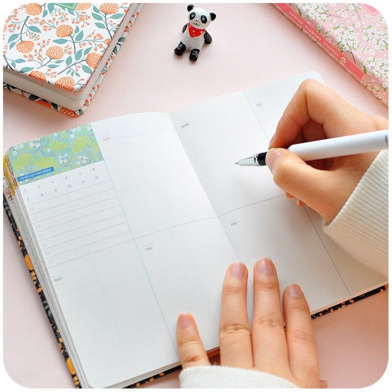 2019 Baru Kedatangan Lucu PU Kulit Bunga Bunga Jadwal Buku Mingguan - Notebook dan menulis bantalan - Foto 5