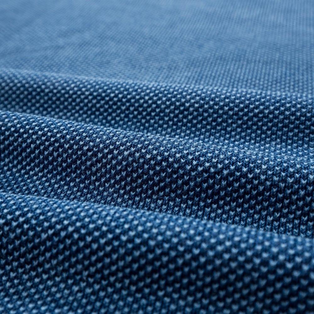 Прочитайте описание! Азиатский размер Мужская Высококачественная хлопковая Повседневная футболка цвета индиго - 6