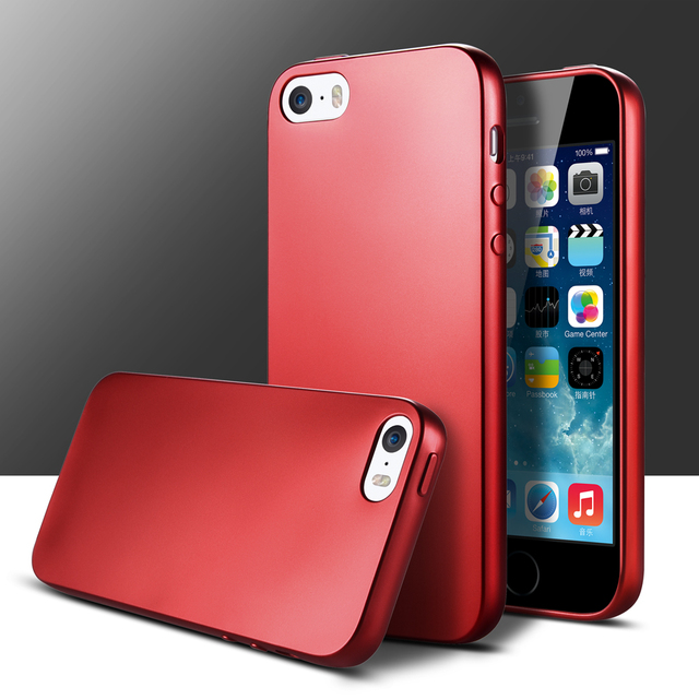 Red And Black TPU Silicone Mobile Phone Case Bumper On For IPhone 5 5s Shell Cover