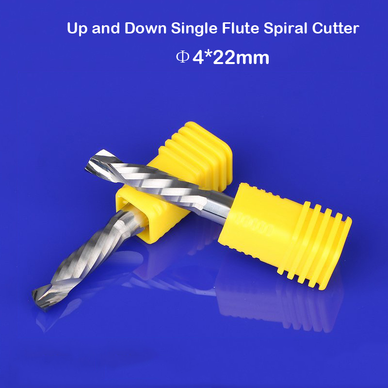 10pcs 4MM Up &Down Cut- One Single Spiral Flute Carbide CNC Mill Milling Tools, Woodworking Cutting Router Cutter Bit CEL 22mm