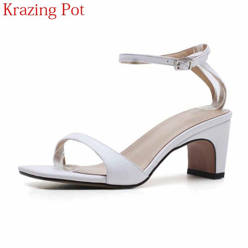 216caa7927c Altos Tacones Nightclub Zapatos L11 Gladiador Sandalias blanco Genuino  Oficina De Señora Verano Moda Peep Toe Elegantes Concise 2018 Cuero Negro  Mujer ...