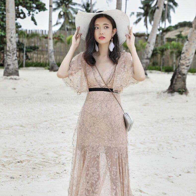 Été 2019 mode resort plage robe sexy robe pull vadim robes robe femme vestido femmes robe