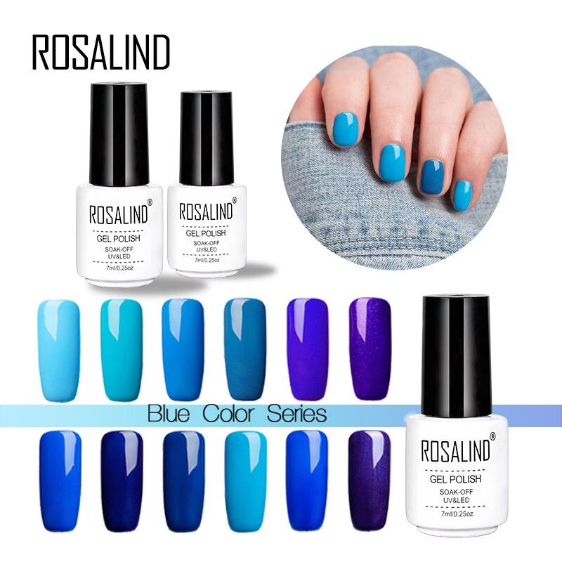 New Formula Gel Nai Polish Quick Dry No Uv Needed Easy: Rosalind 7Ml Ocean Blue Series Nail Gel Polish UV LED Fast