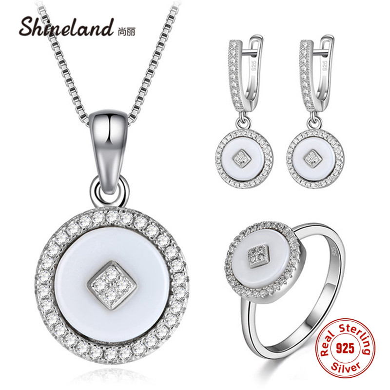 Shineland 925 Sterling Silver Jewelry Sets Round White Black Ceramic Drop Earrings Necklace Ring For Women