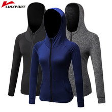 Women Yoga Tops Sport Hoodies Quick Dry Long Sleeve Sweatshirt Female Running Sportswear Zipper Jackets with Hat Coat TrackSuit(China)