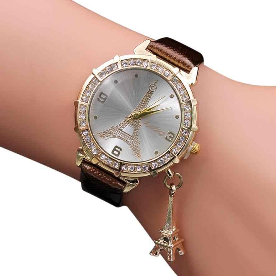 2017 Cristal de moda reloj de cuarzo mujeres marca reloj tous señora de la manera de la trenza de la correa de muñeca de la Torre Eiffel colgante de diamantes de imitación reloj de pulsera Simple moda mujer relojes #500717