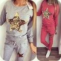 2016 2 unids Star print camisa de Lentejuelas Top Pantalones Conjunto de Dos Piezas de Chándal de Moda Chándales de Las Mujeres Traje