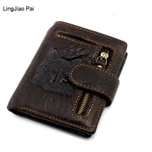 LingJiao Pai Wolf Design Genuine Leather Men Wallet Small Zipper Men Walet Portomonee Male Short Coin Purse Brand Perse Carteira