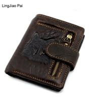 Lingjiao باي وولف تصميم سستة الرجال جلد طبيعي الرجال المحفظة الصغيرة walet portomonee الذكور قصيرة عملة محفظة ماركة بيرس carteira