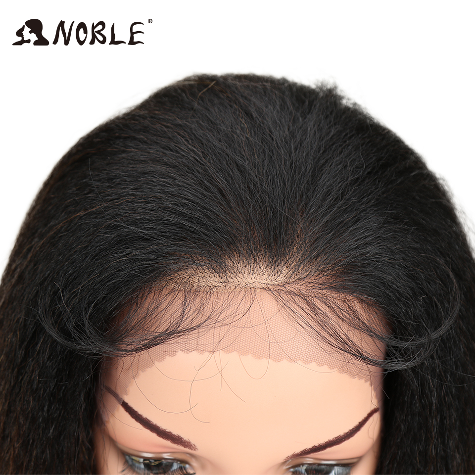Noble Ombre 26 Long Straight Synthetic Hair Lace Front Wigs For Black Women Yaki lace Wig With Baby Hair Free Parting
