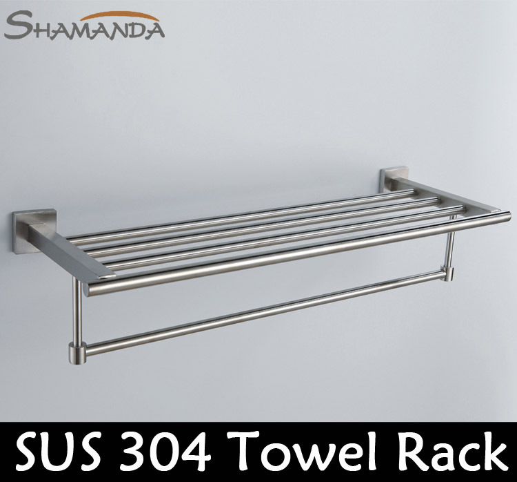 все цены на Sale Free Shipping Solid 304 Stainless Steel Nickel Brushed Towel Rack, Sus Bar,towel Holder,towel Shelves-wholesale-55011