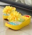 Novos Sapatos de Verão Mulheres Flip Flops chinelos Sapatos Chinelos Plataforma cunhas plataforma de fitness da senhora floral Mulher ac63