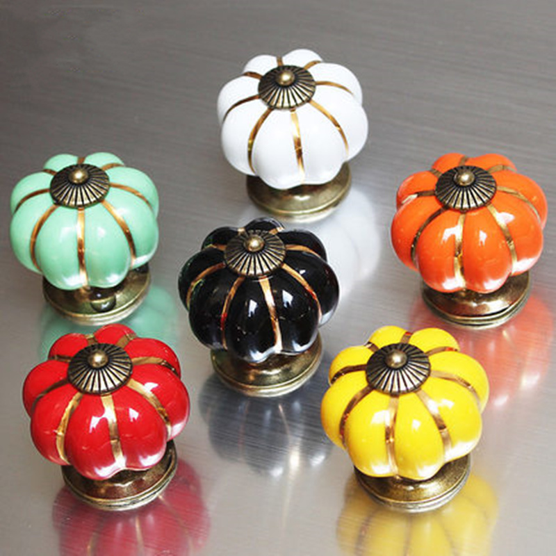 Colorful pumpkin handle Ceramic Door Knobs Cabinet Drawer Cupboard pulls Furniture Accessory home deocr one piece vintage pastoralism pumpkin ceramic knob colorful kitchen ceramic door cabinets cupboard pulls handles