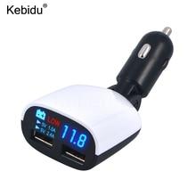 Kebidu Dual USB Car Charger 3.4AจอแสดงผลLEDแรงดันไฟฟ้าบุหรี่ไฟแช็กPower Adapterสำหรับโทรศัพท์แท็บเล็ต ชาร์จใหม่ล่าสุด