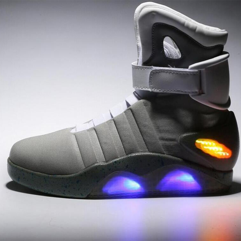 Men Skateboarding Shoes Led light shoes men sneakers Back to Future led glowing shoes for men COsplay high top shoes