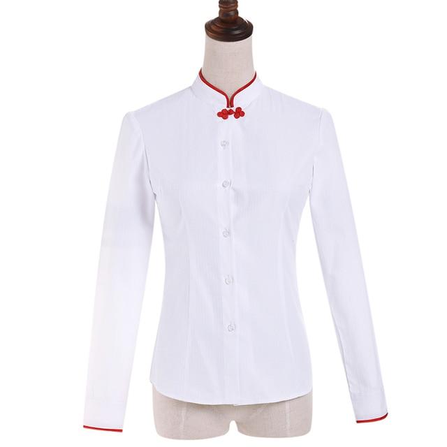 online store 83fd1 40c29 Chinesische Frauen Shirt weibliche Volle Hülse Stehkragen Einfache Weiße  Bluse Tops dame Herbst Tragen Kleidung in Chinesische Frauen Shirt  weibliche ...