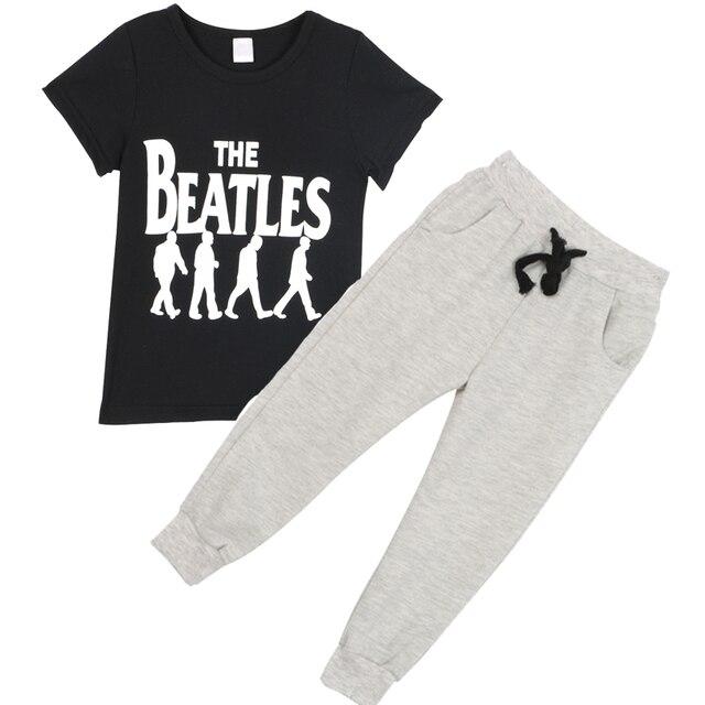 2PCS Summer Short Sleeve Baby Boy Clothing Sets Kids Cotton Band Letters T-shirt+Pants Infant Clothes Suit
