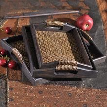 Retro Originality Thailand Import Pallet Handmade Rattan Hotel Tea Tray SPA Club Beauty Salver Tray