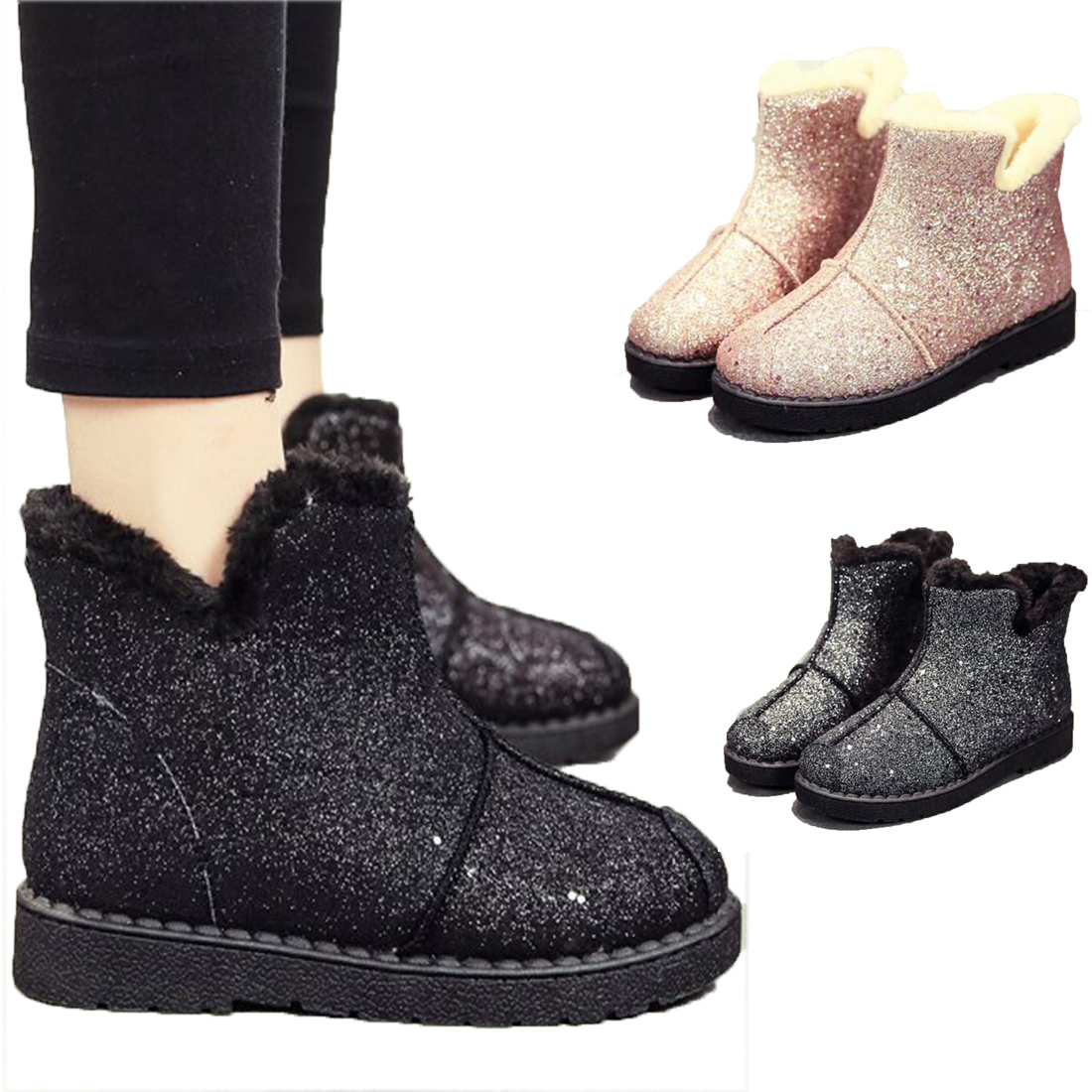 2017 Hot sale Bling Glitter snow Boots plush Warm women boots Flat Cotton Sequined Ankle Boots