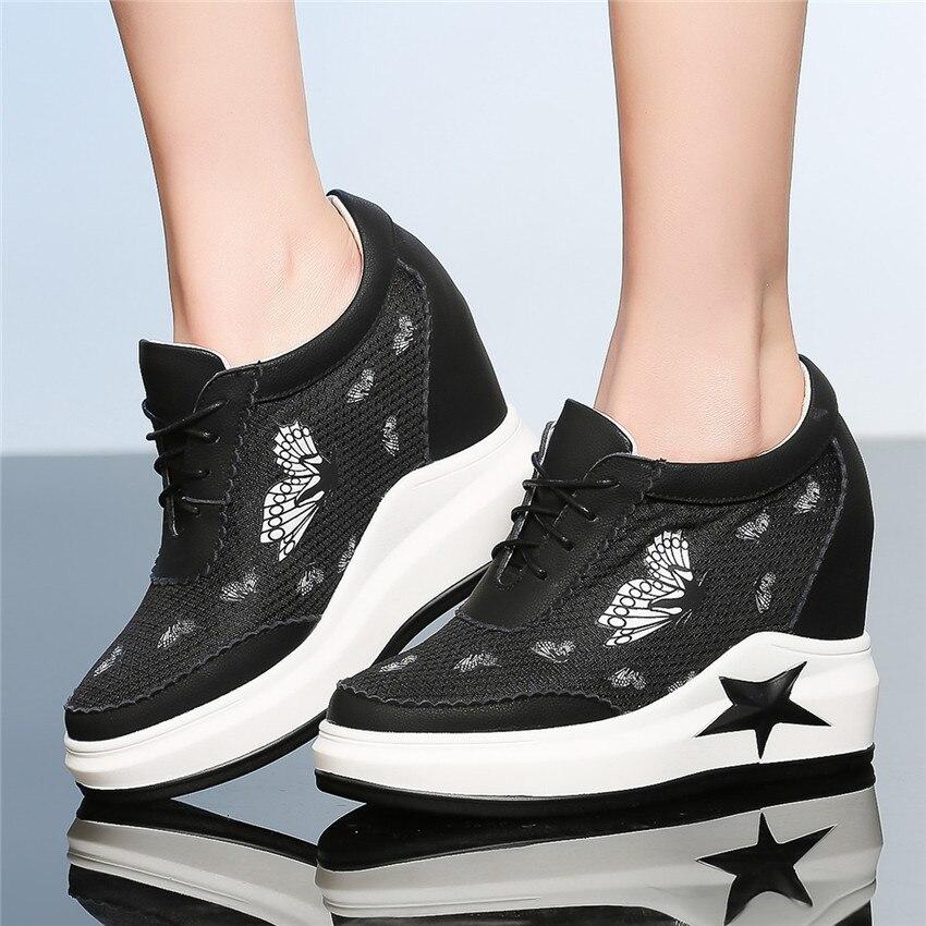 Chaussures Plat Noir Appartements Casual En Marche blanc À Femmes Cuir Lacets De Cales Mocassins Croissante Haute Véritable Wedge Hauteur Qualité qtRORw